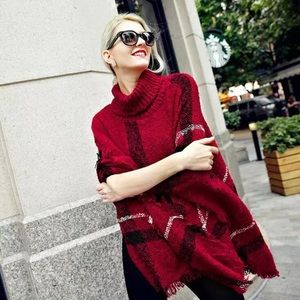 Sweaters - Classic plaid turtleneck poncho with fringed ends